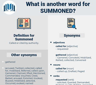 Summoned, synonym Summoned, another word for Summoned, words like Summoned, thesaurus Summoned