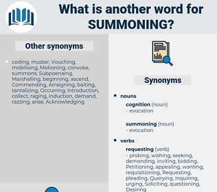 summoning, synonym summoning, another word for summoning, words like summoning, thesaurus summoning