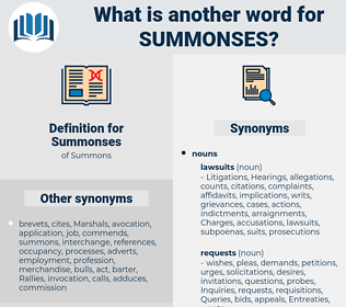 Summonses, synonym Summonses, another word for Summonses, words like Summonses, thesaurus Summonses