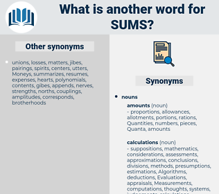 sums, synonym sums, another word for sums, words like sums, thesaurus sums