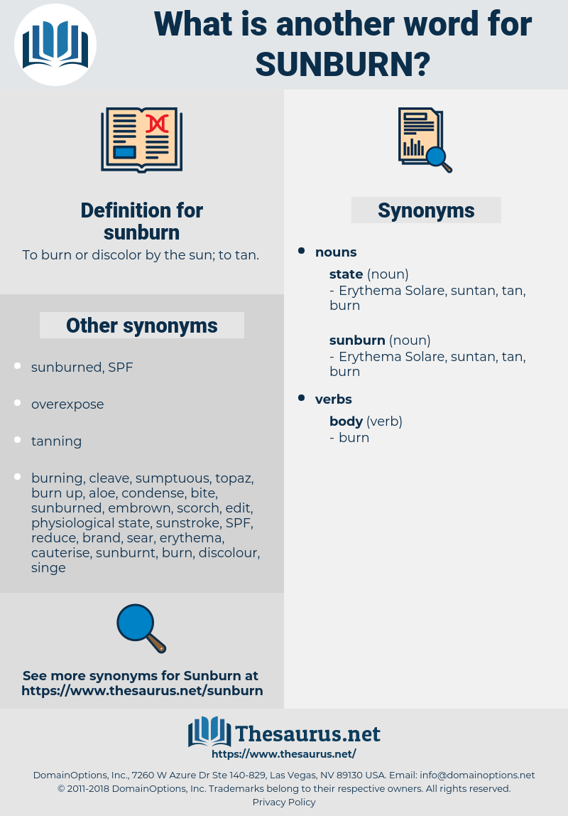 sunburn, synonym sunburn, another word for sunburn, words like sunburn, thesaurus sunburn