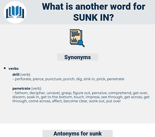 sunk in, synonym sunk in, another word for sunk in, words like sunk in, thesaurus sunk in