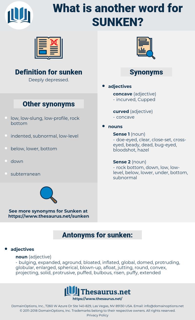 sunken, synonym sunken, another word for sunken, words like sunken, thesaurus sunken