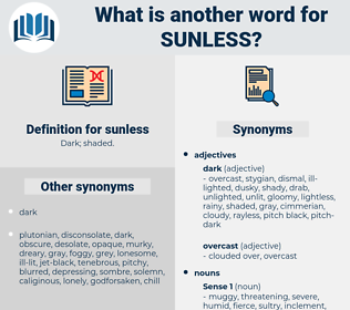 sunless, synonym sunless, another word for sunless, words like sunless, thesaurus sunless