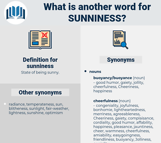 sunniness, synonym sunniness, another word for sunniness, words like sunniness, thesaurus sunniness
