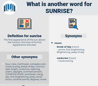 sunrise, synonym sunrise, another word for sunrise, words like sunrise, thesaurus sunrise