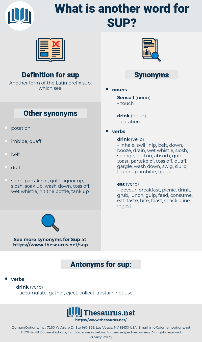 sup, synonym sup, another word for sup, words like sup, thesaurus sup