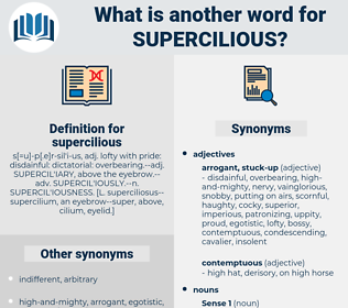 supercilious, synonym supercilious, another word for supercilious, words like supercilious, thesaurus supercilious