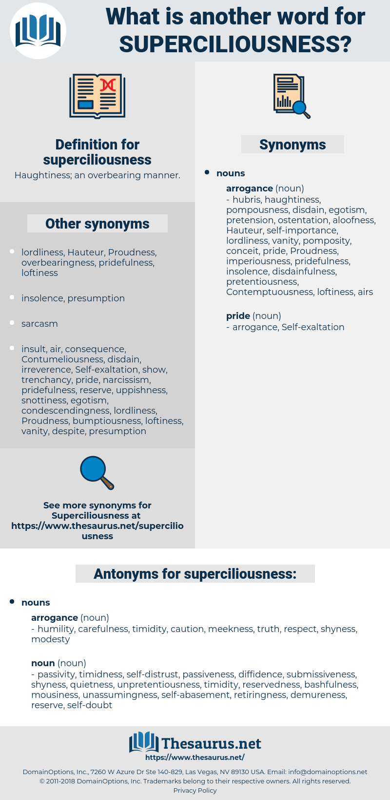 superciliousness, synonym superciliousness, another word for superciliousness, words like superciliousness, thesaurus superciliousness