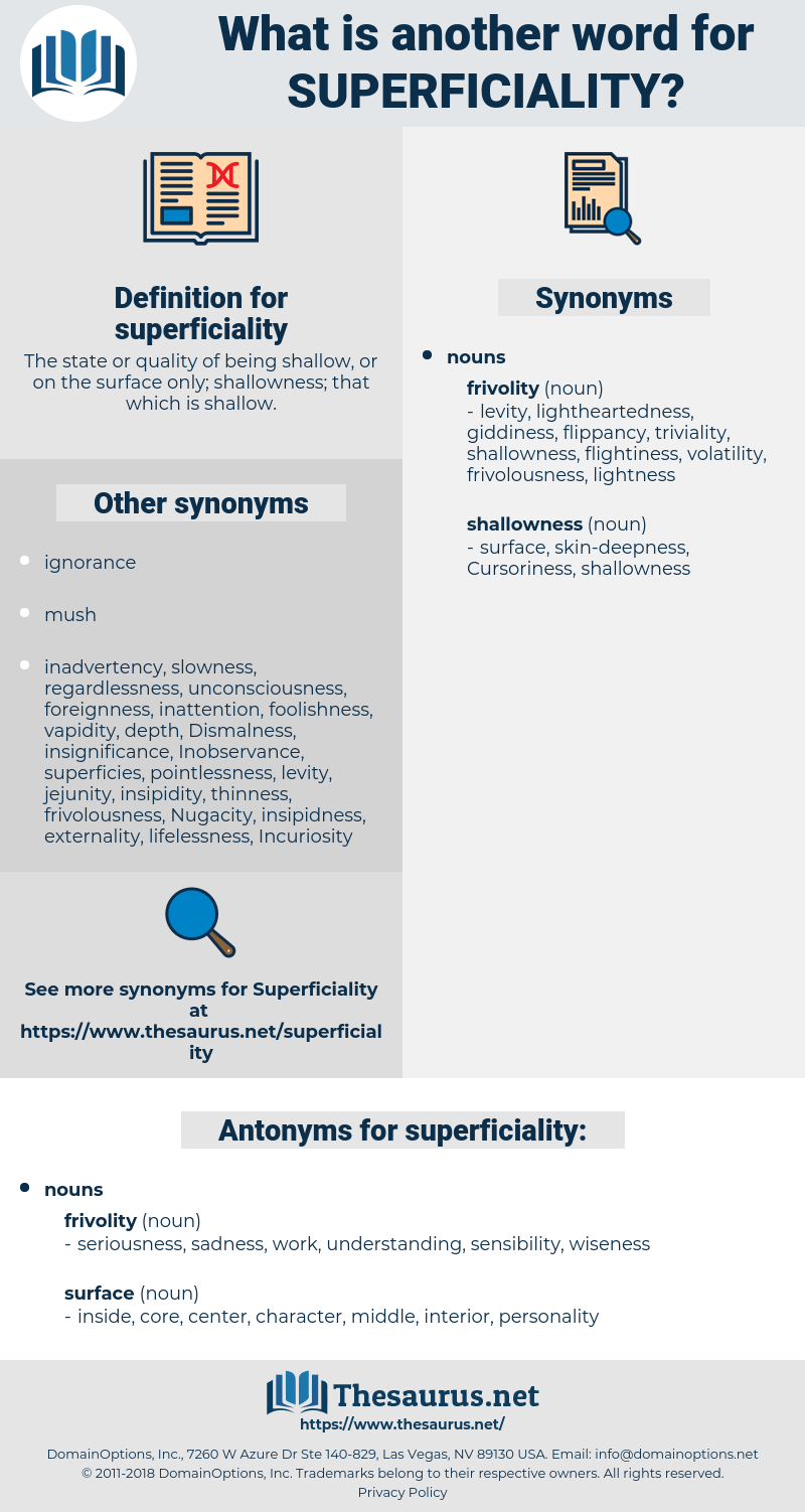 superficiality, synonym superficiality, another word for superficiality, words like superficiality, thesaurus superficiality