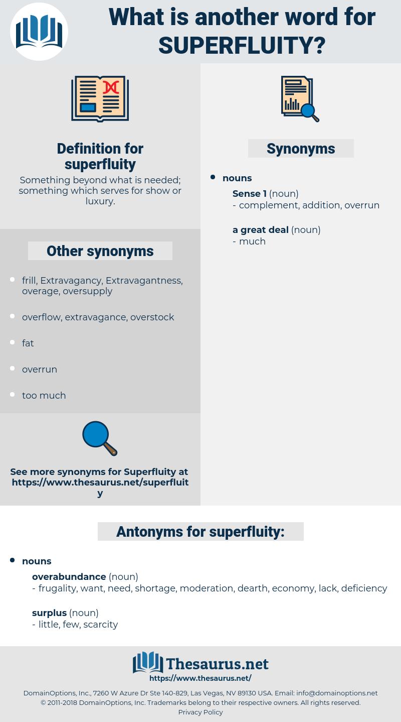 superfluity, synonym superfluity, another word for superfluity, words like superfluity, thesaurus superfluity
