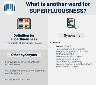 superfluousness, synonym superfluousness, another word for superfluousness, words like superfluousness, thesaurus superfluousness