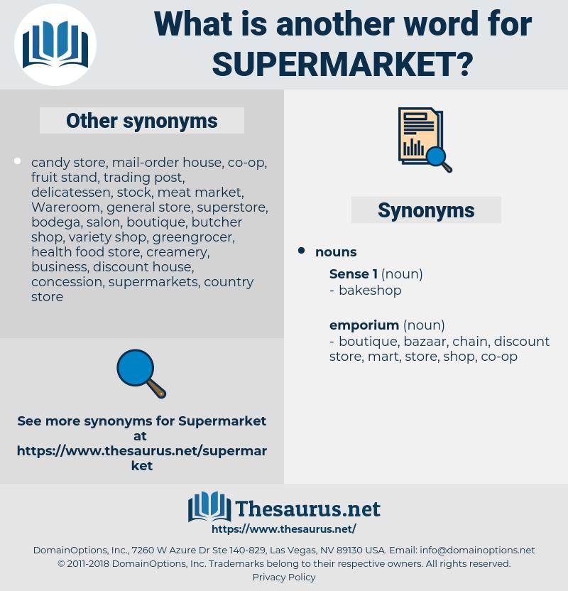 supermarket, synonym supermarket, another word for supermarket, words like supermarket, thesaurus supermarket