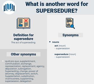 supersedure, synonym supersedure, another word for supersedure, words like supersedure, thesaurus supersedure