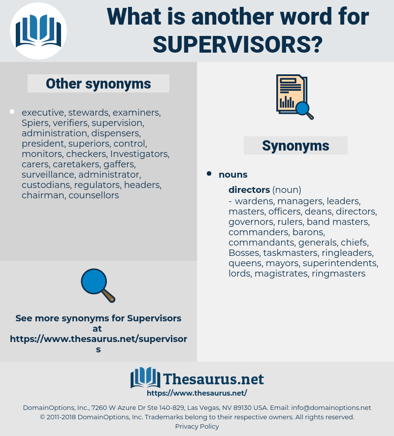 supervisors, synonym supervisors, another word for supervisors, words like supervisors, thesaurus supervisors