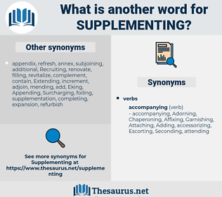 Supplementing, synonym Supplementing, another word for Supplementing, words like Supplementing, thesaurus Supplementing