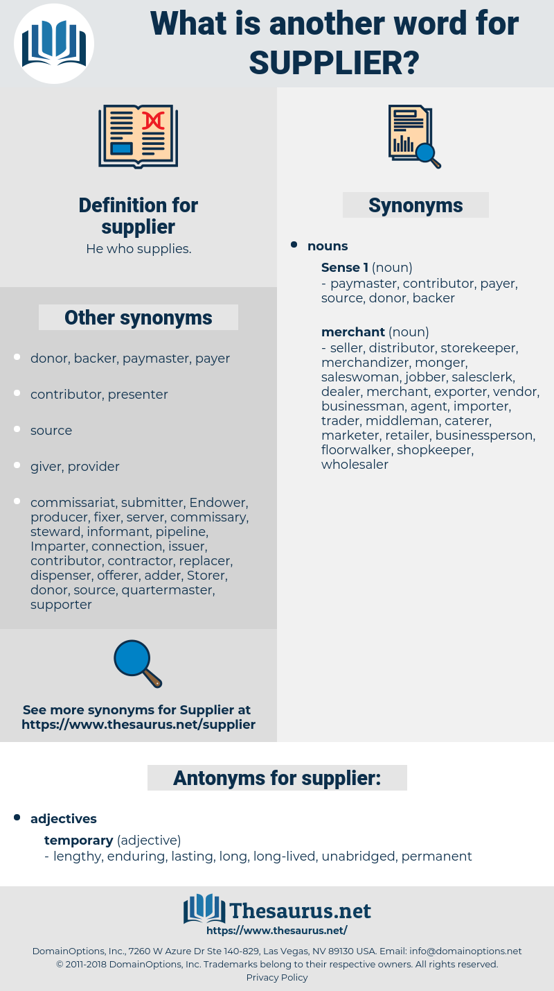 supplier, synonym supplier, another word for supplier, words like supplier, thesaurus supplier
