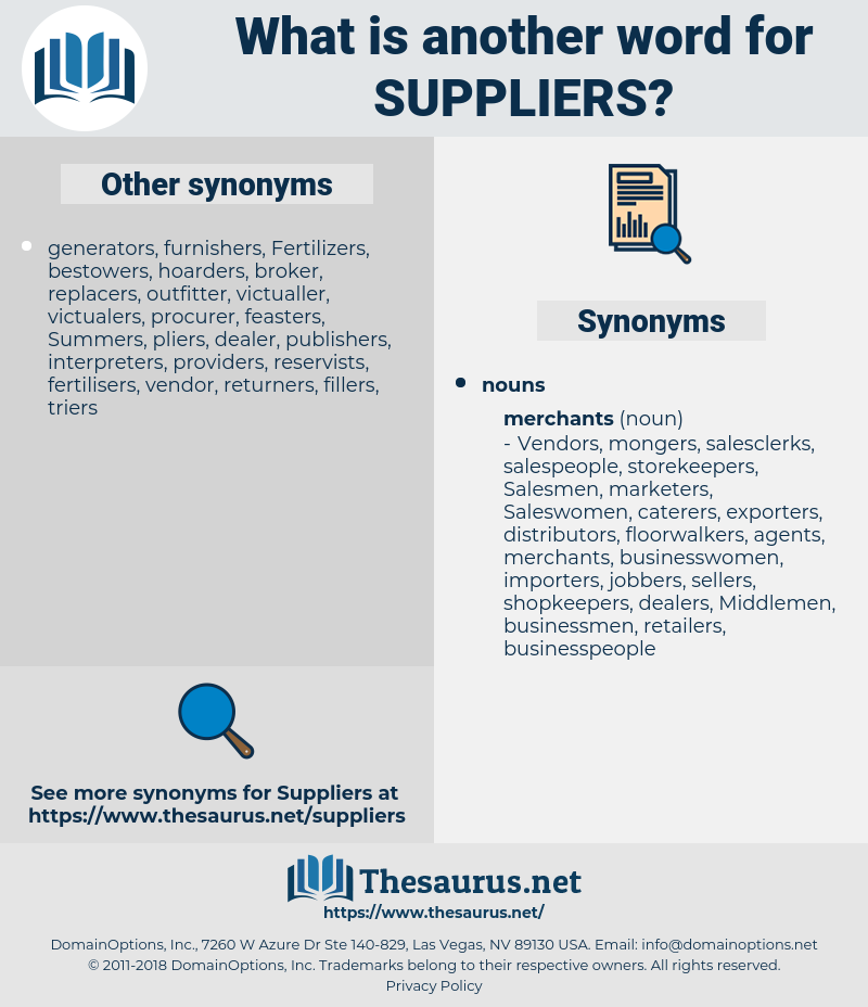 suppliers, synonym suppliers, another word for suppliers, words like suppliers, thesaurus suppliers