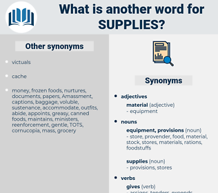supplies, synonym supplies, another word for supplies, words like supplies, thesaurus supplies