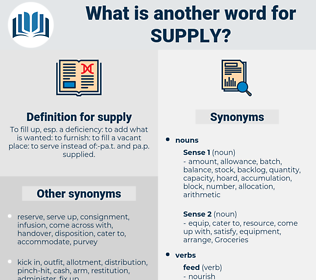 supply, synonym supply, another word for supply, words like supply, thesaurus supply