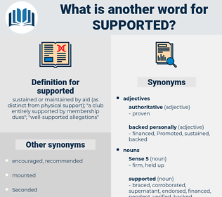 supported, synonym supported, another word for supported, words like supported, thesaurus supported