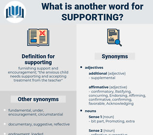 supporting, synonym supporting, another word for supporting, words like supporting, thesaurus supporting