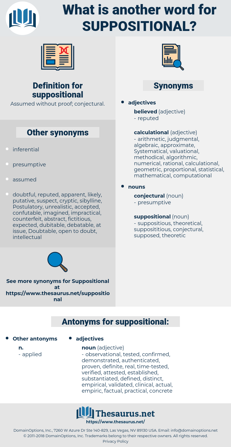 suppositional, synonym suppositional, another word for suppositional, words like suppositional, thesaurus suppositional