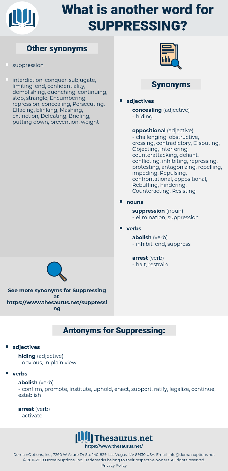 Suppressing, synonym Suppressing, another word for Suppressing, words like Suppressing, thesaurus Suppressing