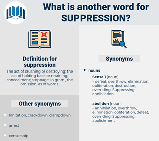 suppression, synonym suppression, another word for suppression, words like suppression, thesaurus suppression