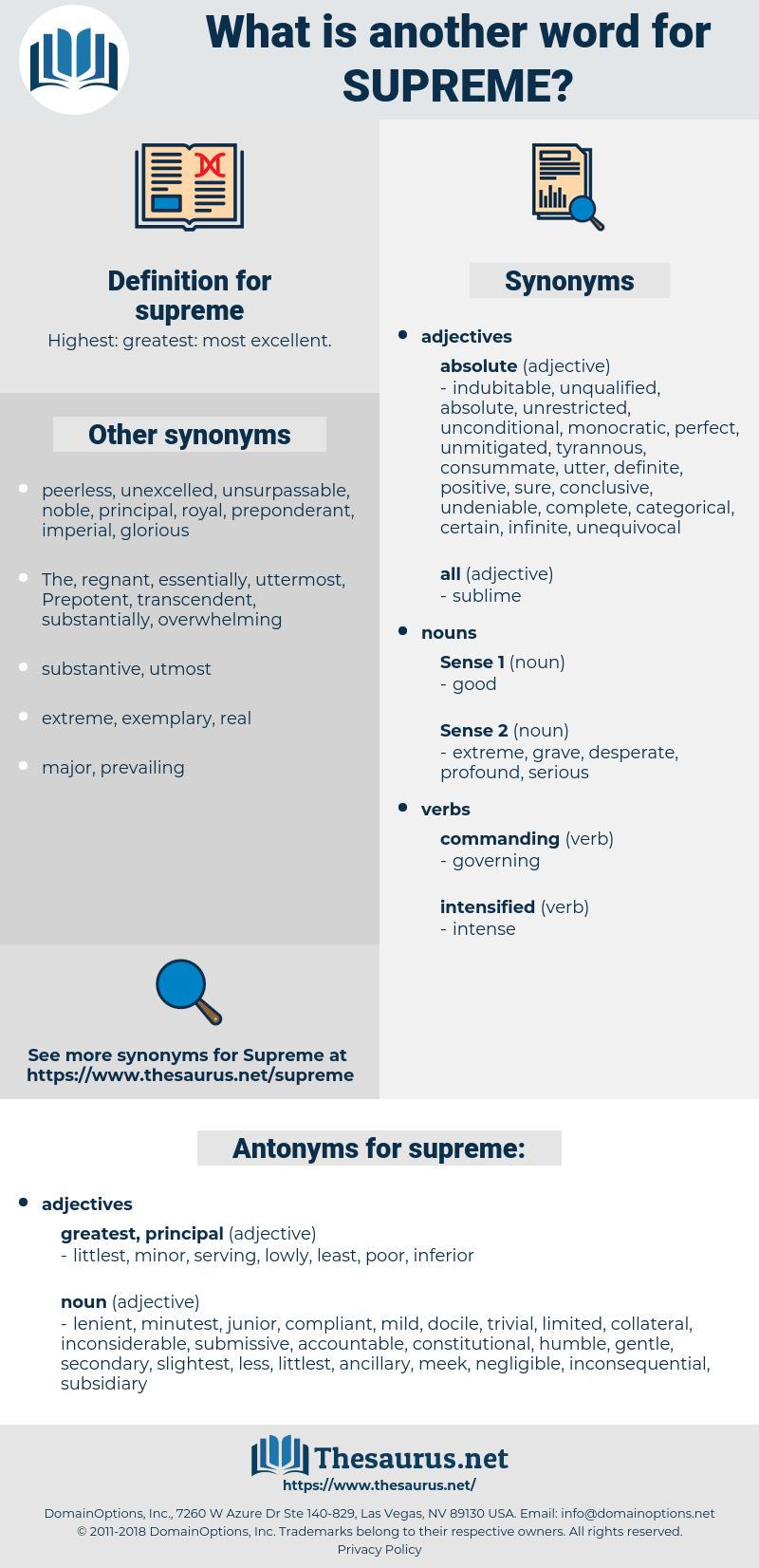 supreme, synonym supreme, another word for supreme, words like supreme, thesaurus supreme
