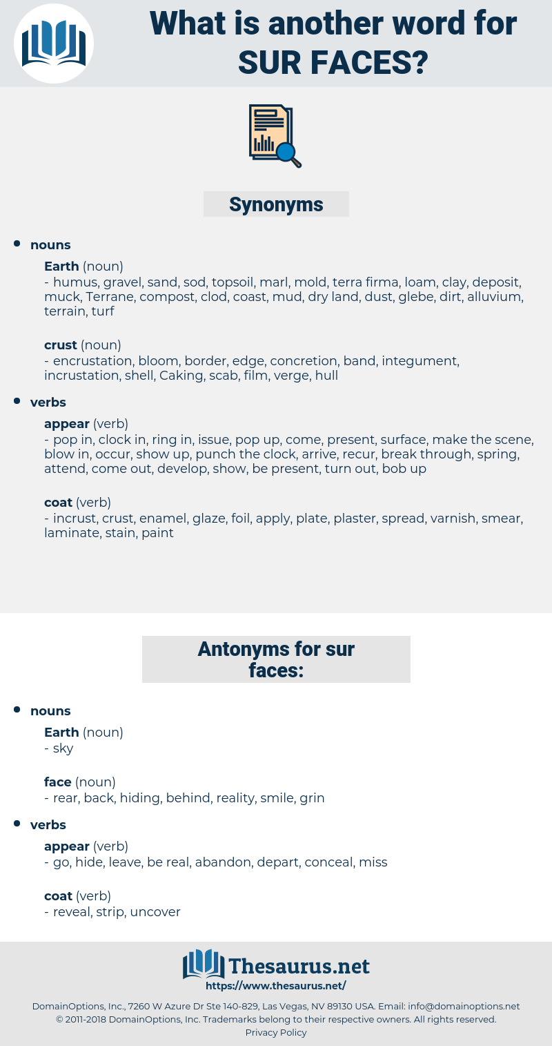 sur faces, synonym sur faces, another word for sur faces, words like sur faces, thesaurus sur faces