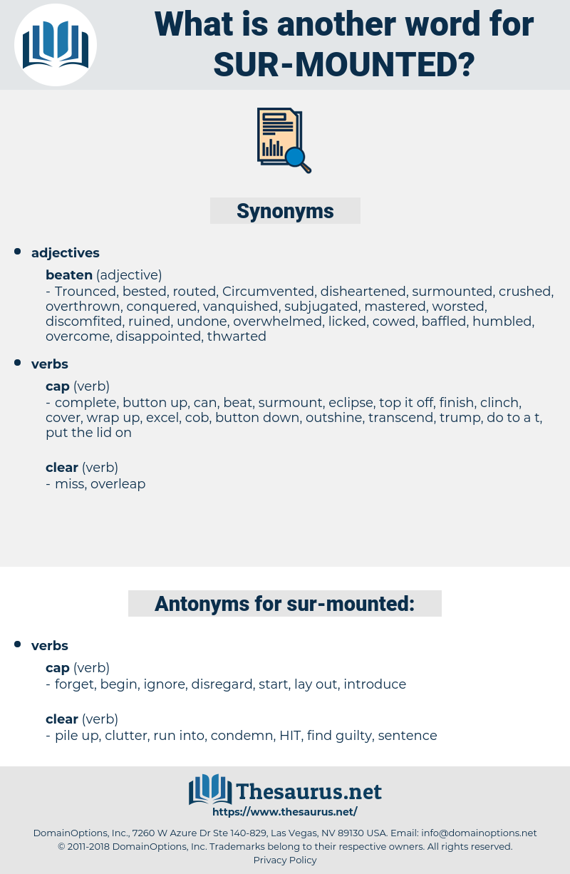 sur mounted, synonym sur mounted, another word for sur mounted, words like sur mounted, thesaurus sur mounted