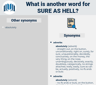 sure as hell, synonym sure as hell, another word for sure as hell, words like sure as hell, thesaurus sure as hell