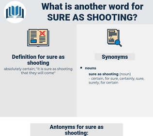 sure as shooting, synonym sure as shooting, another word for sure as shooting, words like sure as shooting, thesaurus sure as shooting