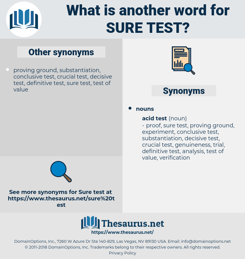 sure test, synonym sure test, another word for sure test, words like sure test, thesaurus sure test