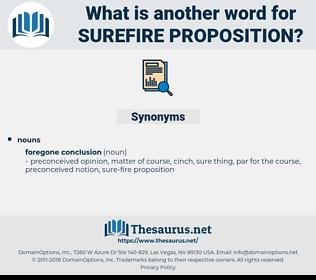 surefire proposition, synonym surefire proposition, another word for surefire proposition, words like surefire proposition, thesaurus surefire proposition