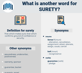 surety, synonym surety, another word for surety, words like surety, thesaurus surety