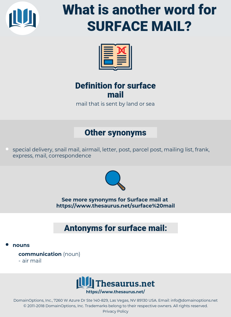 surface mail, synonym surface mail, another word for surface mail, words like surface mail, thesaurus surface mail
