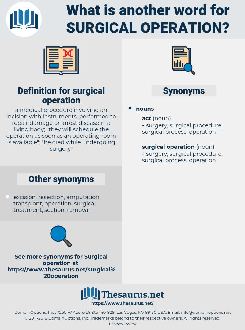 surgical operation, synonym surgical operation, another word for surgical operation, words like surgical operation, thesaurus surgical operation