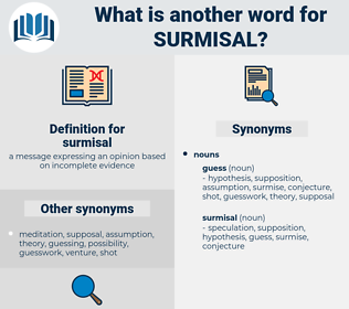 surmisal, synonym surmisal, another word for surmisal, words like surmisal, thesaurus surmisal