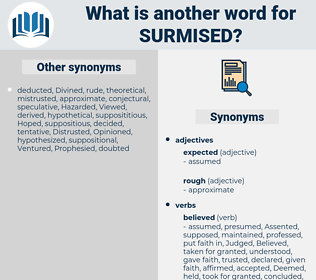 Surmised, synonym Surmised, another word for Surmised, words like Surmised, thesaurus Surmised