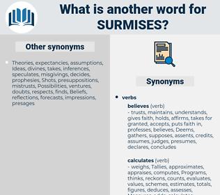 surmises, synonym surmises, another word for surmises, words like surmises, thesaurus surmises