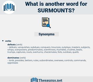 surmounts, synonym surmounts, another word for surmounts, words like surmounts, thesaurus surmounts
