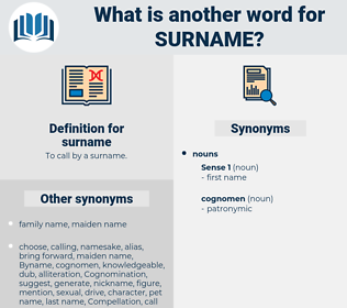 surname, synonym surname, another word for surname, words like surname, thesaurus surname