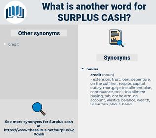 surplus cash, synonym surplus cash, another word for surplus cash, words like surplus cash, thesaurus surplus cash