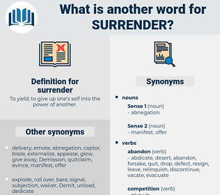 surrender, synonym surrender, another word for surrender, words like surrender, thesaurus surrender