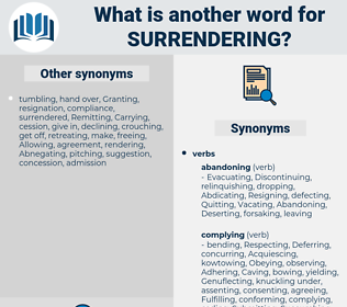 Surrendering, synonym Surrendering, another word for Surrendering, words like Surrendering, thesaurus Surrendering