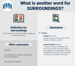 surroundings, synonym surroundings, another word for surroundings, words like surroundings, thesaurus surroundings