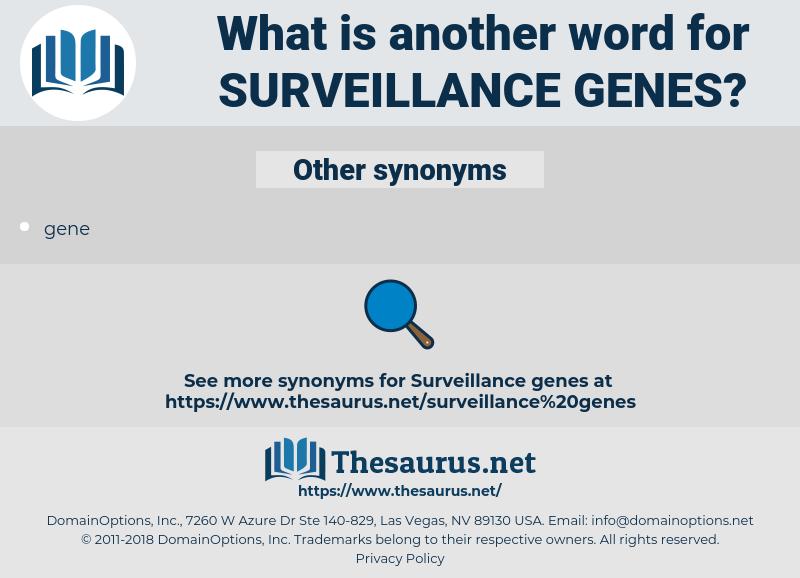 surveillance genes, synonym surveillance genes, another word for surveillance genes, words like surveillance genes, thesaurus surveillance genes