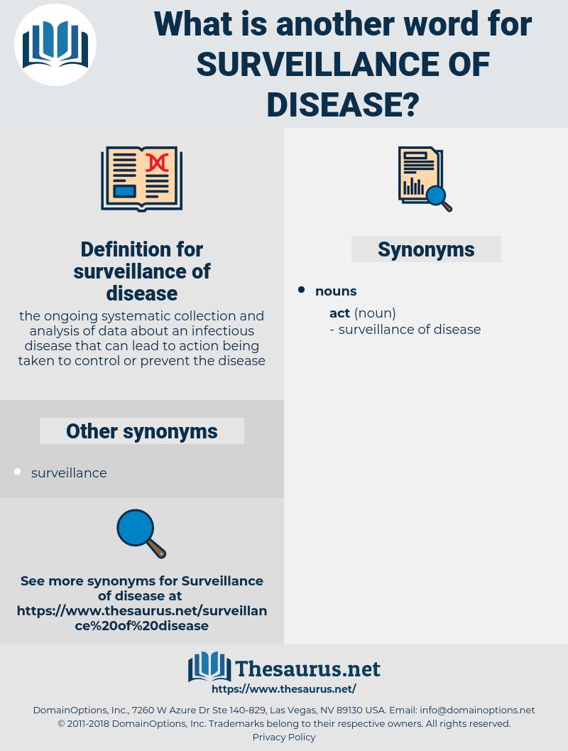 surveillance of disease, synonym surveillance of disease, another word for surveillance of disease, words like surveillance of disease, thesaurus surveillance of disease
